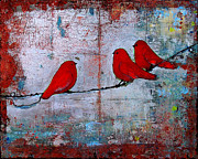 Bright Metal Prints - Red Birds Let It Be Metal Print by Blenda Tyvoll