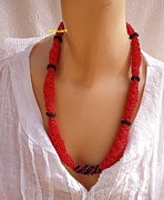 Red Beads Jewelry - Red Black And Gold Buggles Spiral Necklace by Nurit Schlomi von-strauss
