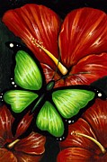 Hibiscus Art - Red Blooms by Elaina  Wagner