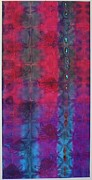 Blue Tapestries - Textiles Posters - Red/blue Poster by Bernadette Aitken