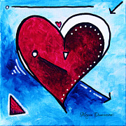 Unique Art Prints - Red Blue Heart Love Painting Pop Art Joy by Megan Duncanson Print by Megan Duncanson