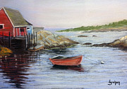 East Village Pastels Framed Prints - Red Boat at Peggys Cove Framed Print by Fiona Graham