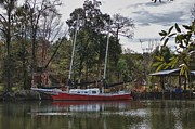 Shrimp Boat Prints - Red Boat Closeup Print by Michael Thomas