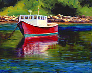 Rockport Paintings - Red Boat by Elaine Farmer