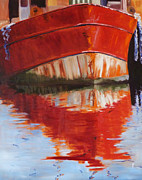 Docked Boat Painting Posters - Red Boat Poster by Nancy Merkle