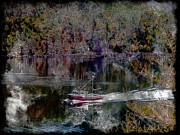 Going Home Digital Art Posters - Red Boat - Seascape - Steel Engraving Poster by Barbara Griffin