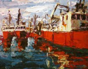 Boats In Water Paintings - Red Boats by Brian Simons