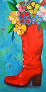 Interior Still Life Painting Metal Prints - Red Boot with Flowers Metal Print by Patricia Awapara