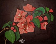 Plant Greeting Cards Prints - Red Bougainvillae Print by Charito ChatRose Mahilum
