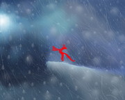 Snowstorm Paintings - Red Bow in the Wind by Kume Bryant