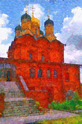 Orthodox Painting Framed Prints - Red brick orthodox christian church at Varvarka street Moscow Russia painting Framed Print by Magomed Magomedagaev