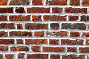 Residential Structure Prints - Red Brick Wall Print by Chevy Fleet