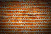 Old Wall Posters - Red Brick Wall Texture with vignette Poster by Antony McAulay