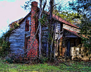 Abandoned Houses Digital Art Prints - Red Bricks Print by Victor Montgomery