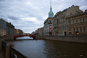 Saint Petersburg Photos - Red Bridge View - St. Petersburg - Russia by Madeline Ellis