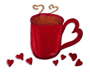 Glitter Paintings - Red Brown Coffee Cup Mug With Hearts Whimsical Art by ROMI by Romi Neilson