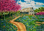 Red Bud Trees Prints - Red Bud Barn Print by Robert Thornton