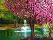 Red Bud Trees Prints - Red Bud Tree Print by LaVonne Hand