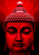 Featured Mixed Media Prints - Red Buddha Print by Michelle Wilmot