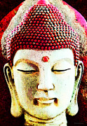 Sharon Digital Art - Red Buddha - Spiritual Meditation Art Print by Sharon Cummings