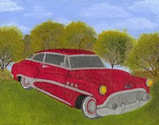 Buick Paintings - Red Buick by Seth Miller