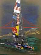 San Francisco Pastels Metal Prints - Red Bull Catamaran Metal Print by Jerald Vallan