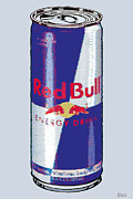 Silk Screen Posters - Red Bull Ode To Andy Warhol Poster by Tony Rubino