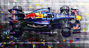 Red Mixed Media Posters - Red Bull RB6 Vettel 2010 Poster by Yuriy  Shevchuk