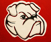 Georgia Bulldog Prints - Red Bulldawg Print by Brandy Nicole Clark