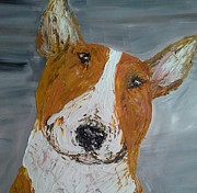 English Bull Terrier Paintings - Red bullie by Janette Ireland