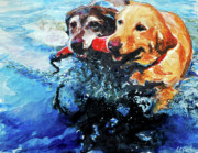 Yellow Labrador Retriever Paintings - Red Bumper by Molly Poole