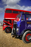 Erf Prints - Red bus blue lorry Print by Rob Hawkins
