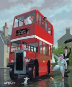 Rainy Day Digital Art Posters - Red Bus Stop Queue Poster by Martin Davey