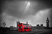 City Streets Photo Originals - Red Bus by Svetlana Sewell