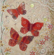 Floral Tapestries - Textiles - Red Butterflies by Hazel Millington