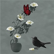 Interior Still Life Mixed Media Posters - Red Butterfly in the eyes of the Blackbird Poster by Barbara St Jean