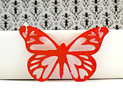 Wings Jewelry - Red Butterfly Pendant Necklace by Rony Bank
