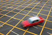 Taxi Cab Photos - Red Cab in Hong Kong by Lars Ruecker
