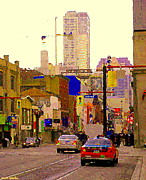 Corner Stores Paintings - Red Cab On Gerrard Chinatown Morning Toronto City Scape Paintings Canadian Urban Art Carole Spandau by Carole Spandau