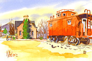 Water Colour Painting Originals - Red Caboose at Whistle Junction Ironton Missouri by Kip DeVore