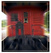 Motion Photo Prints - Red Caboose Print by Edward Fielding