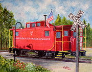 Old Caboose Painting Posters - Red Caboose Poster by Huy Lee