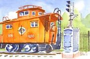 Red Road Paintings - Red Caboose with Signal  by Kip DeVore