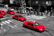 Colorkey Posters - Red Cabs on Time Square Poster by Hannes Cmarits