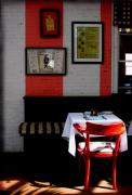 Bistro Posters - Red Cafe Poster by Colleen Kammerer