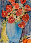 Red Calla Lilies Print by Caroline Street