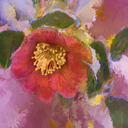 Red Camelia In A Winter Coat Print by Terry Rowe