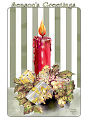Christmas Cards Art - Red Candle by Arline Wagner