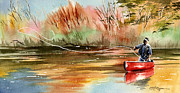 Fly Fishing Art Print Posters - Red Canoe Poster by David Rogers