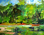 Greens Paintings - Red Canoe I by Charlie Spear